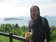 Enjoying a fresh coconut on Koh Chang. Sorry about the terrible view.